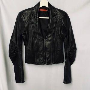 Alice+Olivia Cropped Leather Jacket